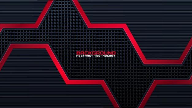Abstraktes schwarz mit roter linie technologiehintergrund moderne futuristische tapete feste beschaffenheit tiefe futuristische hintergründe. vektor.