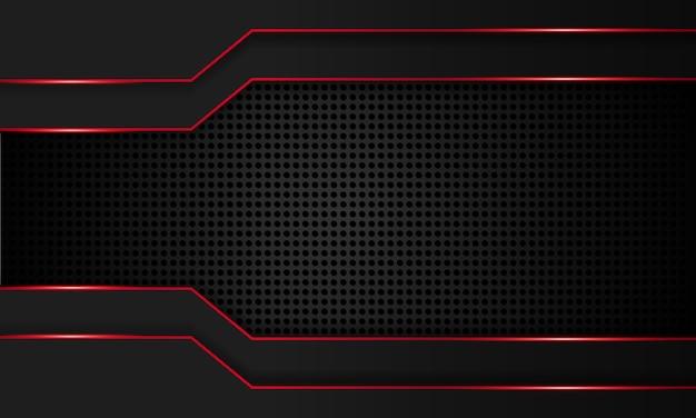 Abstraktes schwarz mit technischem hintergrund der roten linie, moderne futuristische tapete, feste textur, tiefe futuristische hintergründe.