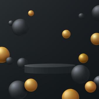 Abstraktes schwarzes 3d-zylindersockelpodest, das in der luft schwebt, mit schwarzem und goldenem kugelball
