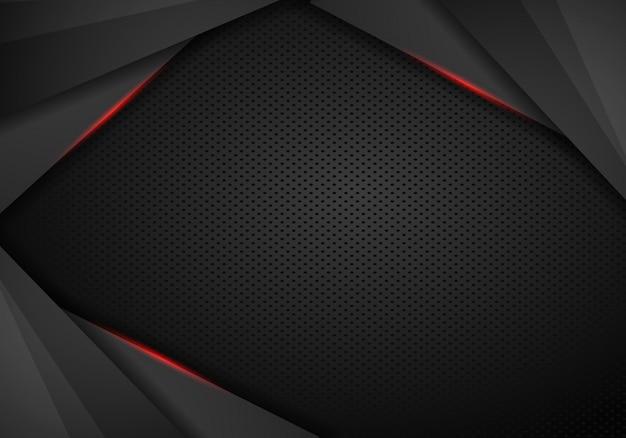 Abstraktes schwarzes mit rotem rahmenschablonenplan-designtechnologie-konzepthintergrund - vektor