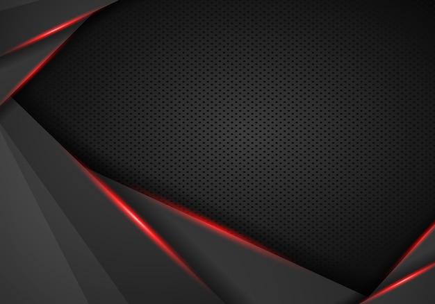 Abstraktes schwarzes mit rotem rahmenschablonenplanentwurfstechnologie-konzepthintergrund - vektor