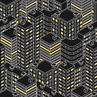 Abstraktes schwarzes nahtloses muster. isometrisches gebäude nachts. linearer stil. die umrisse von wolkenkratzern. häuser mit fenstern. licht im fenster. stadtstraße. vektor-illustration.