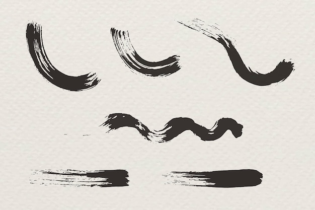 Abstraktes schwarzes pinselstrichset