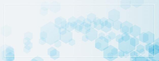 Abstraktes sechseckiges formenbanner in der blauen farbe