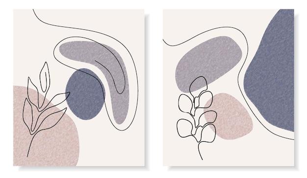 Abstraktes set mit minimalen formen und strichzeichnungen blume und blatt.
