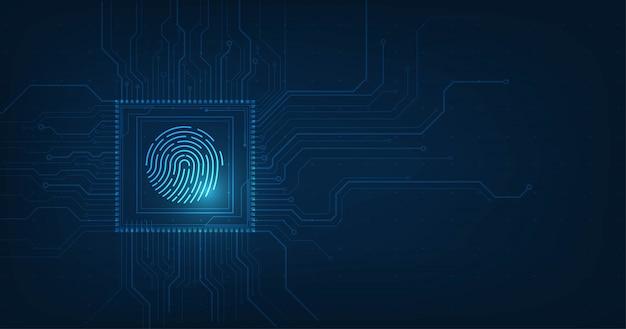 Abstraktes sicherheitssystem mit fingerabdruck technologie hintergrund.