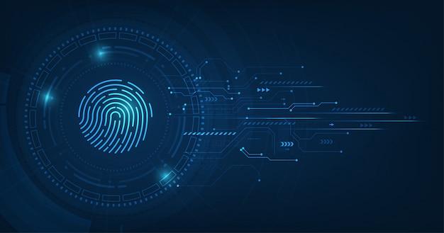 Abstraktes sicherheitssystemkonzept mit fingerabdruck auf technologiehintergrund.