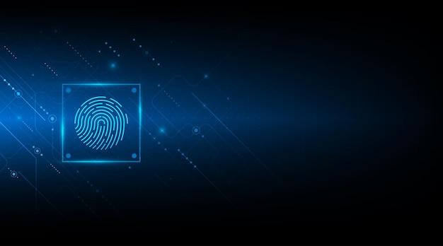 Abstraktes sicherheitssystemkonzept mit fingerabdruck auf technologiehintergrund