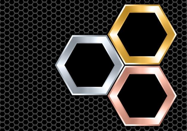 Abstraktes silbernes goldkupferschwarzes hexagon