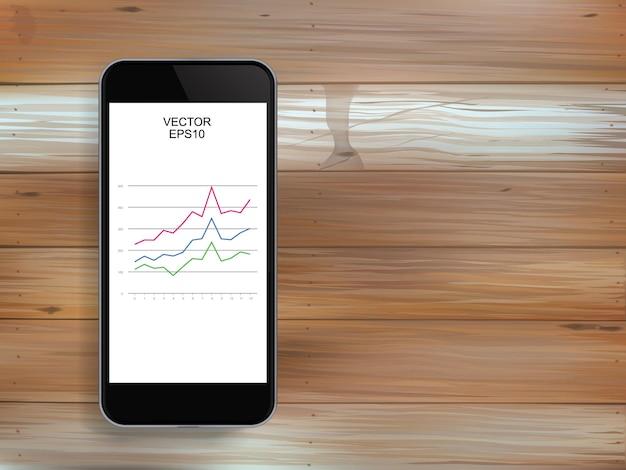 Abstraktes smartphone und investitionsdiagramm im bildschirm über holzstruktur. vektor-illustration.