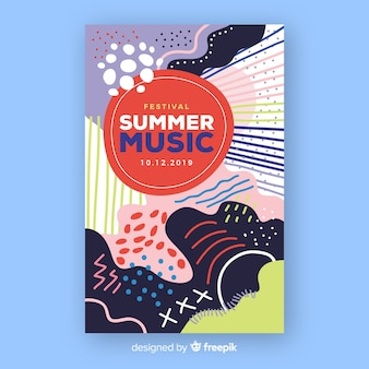 Abstraktes sommermusikplakat in der von hand gezeichneten art