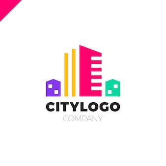 Abstraktes stadtgebäude-logodesign