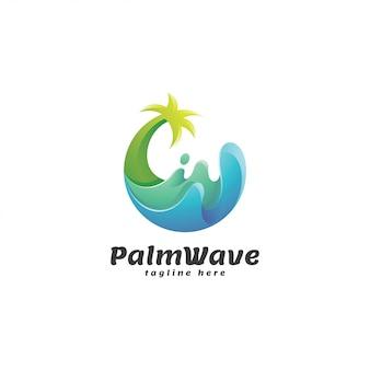 Abstraktes steigungs-palme-und wellen-logo
