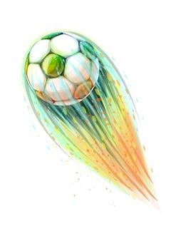 Abstraktes stilvolles konzeptdesign eines digitalen fußballs vom spritzen von aquarellen, fliegendem ball. vektorillustration von farben
