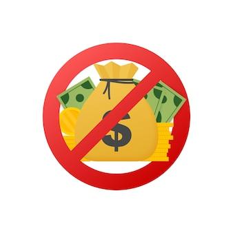 Abstraktes symbol mit rot kein geld für papierdesign. vektor-illustration.