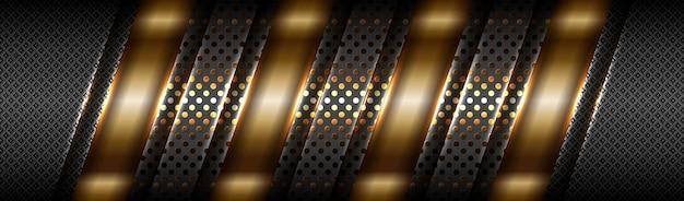 Abstraktes technisches farbverlauf-mattgold mit schwarzem hintergrund der materialschicht