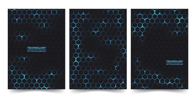 Abstraktes technologie-cover-set mit sechseckigem hintergrund