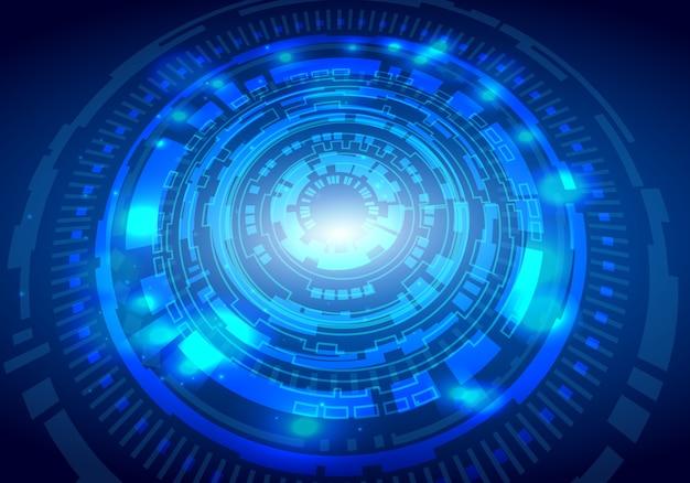 Abstraktes technologie-sci-fi-schaltungsdesign-innovationskonzept Premium Vektoren