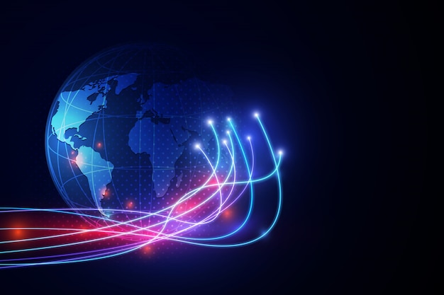 Abstraktes technologiehintergrund-kommunikationskonzept-innovationsnetz.