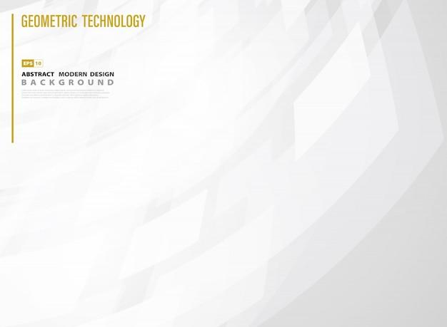 Abstraktes technologiequadrat des weißen steigungsschablonen-designhintergrundes.