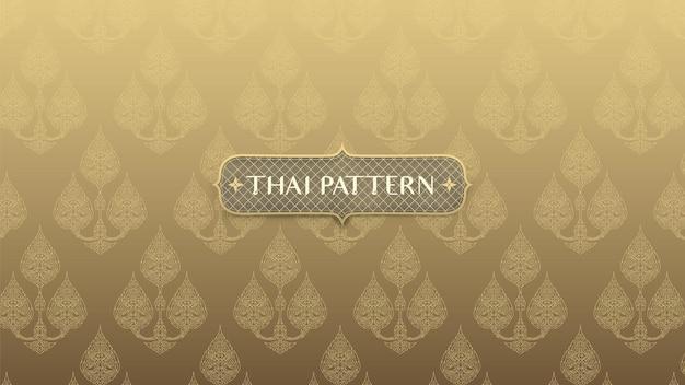 Abstraktes traditionelles thailändisches muster auf goldhintergrund
