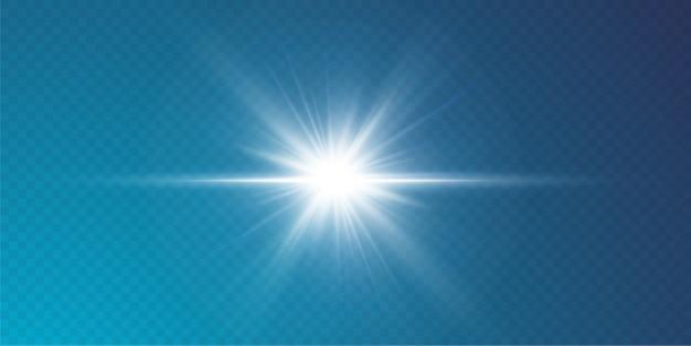Abstraktes transparentes sonnenlicht spezielle linseneffekt-lichteffekt, unschärfe in bewegung glühen blendung. isolierter transparenter hintergrund. dekorelement. horizontale sternstrahlung und scheinwerfer.