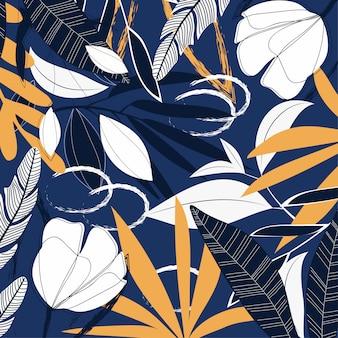 Abstraktes tropisches muster mit blättern und anlagen auf blau