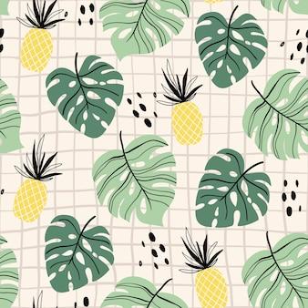 Abstraktes tropisches nahtloses muster mit palmblatt und ananas, modernes design