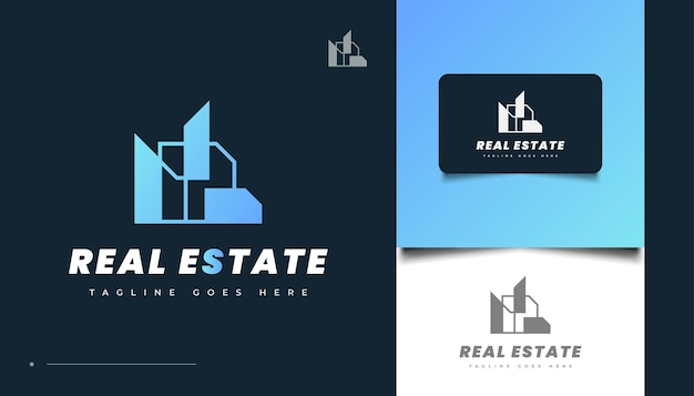 Abstraktes und futuristisches immobilien-logo-design. bau-, architektur- oder gebäudelogo-design