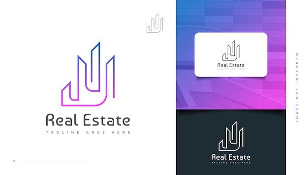 Abstraktes und futuristisches immobilien-logo-design im bunten linienstil