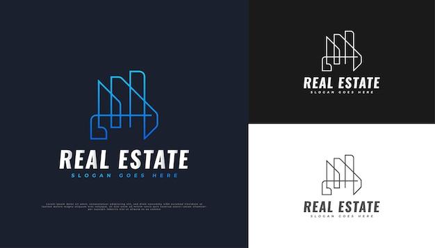 Abstraktes und futuristisches immobilien-logo-design in blauem farbverlauf mit linienstil
