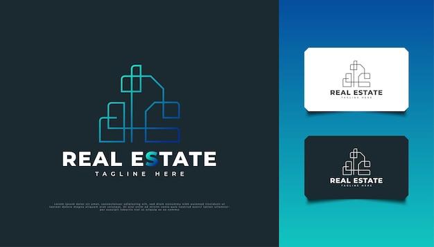 Abstraktes und futuristisches immobilien-logo-design in blauem farbverlauf mit linienstil.