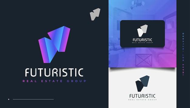 Abstraktes und futuristisches immobilien-logo-design mit buntem dreieck-konzept. bau-, architektur- oder gebäudelogo-design