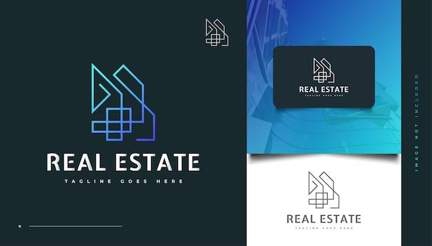Abstraktes und futuristisches immobilien-logo-design mit linienstil