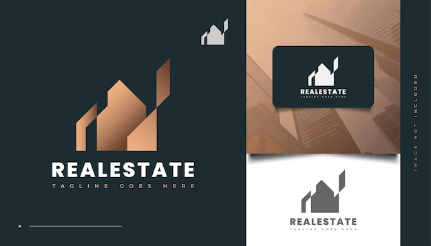 Abstraktes und luxuriöses gold-immobilien-logo-design. bau-, architektur- oder gebäudelogo-design