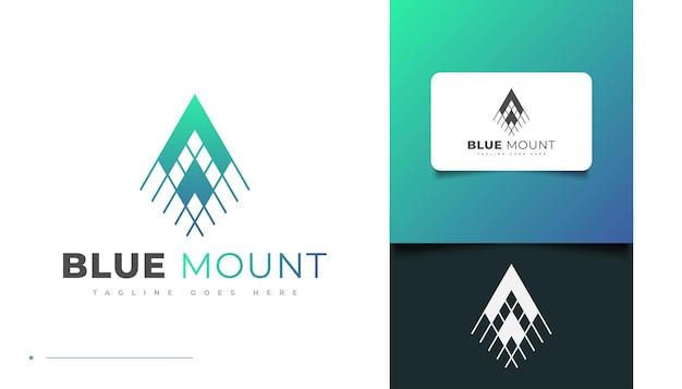Abstraktes und minimalistisches blue mountain logo-design