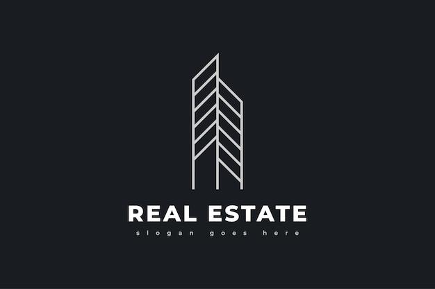 Abstraktes und minimalistisches immobilien-logo-design mit linienstil