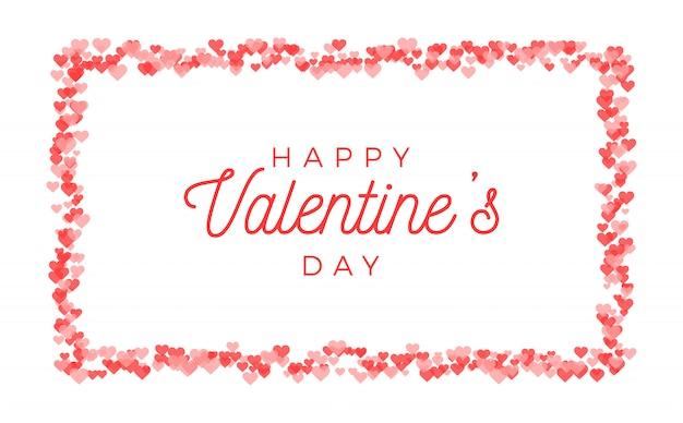 Abstraktes valentinstag-grußkartendesign. horizontaler rahmen der roten herzen