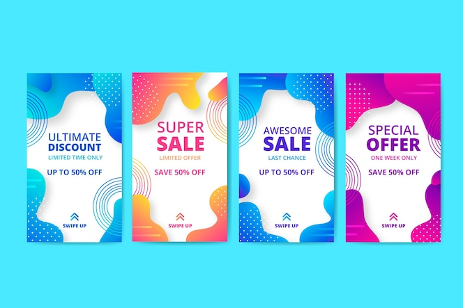 Abstraktes Verkaufsinstagram-Geschichtenpaket