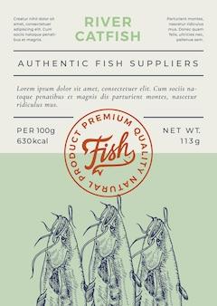 Abstraktes verpackungsdesign oder etikett des flussfisches