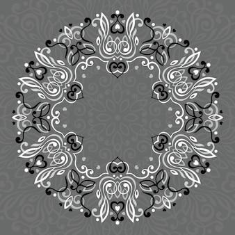 Abstraktes verziertes mandala. dekorativer rahmen für design.
