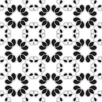 Abstraktes verziertes nahtloses muster mit sich wiederholender verbundener struktur in der monochromen minimalistischen artillustration