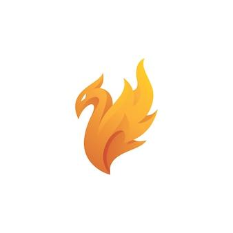 Abstraktes vogel- und feuerflammen-phoenix-logo-symbol