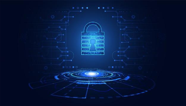 Abstraktes vorhängeschloss cyber-sicherheitskonzept schutz von informationen