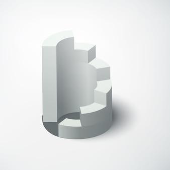 Abstraktes web-geschäftskonzept mit realistischem 3d-diagramm auf weiß isoliert