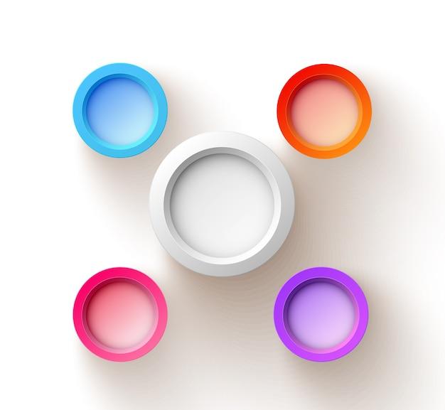 Abstraktes webdesignkonzept mit fünf bunten leeren runden knöpfen auf weiß lokalisiert