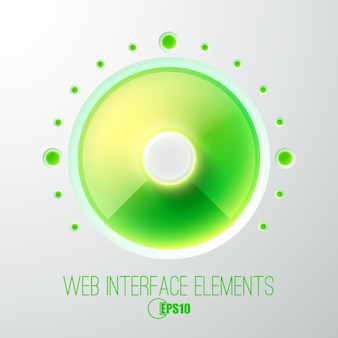Abstraktes webkonzept mit grünem lichtvolumenknopf