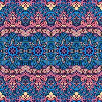 Abstraktes weinlese-indisches textil ethnisches nahtloses muster dekorativ. bunter geomertrischer kunsthintergrund