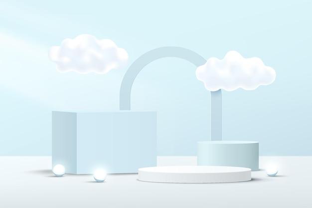 Abstraktes weiß-blaues 3d-würfel- und zylinderpodest-podium mit wolkenfliegen und bögen-hintergrund