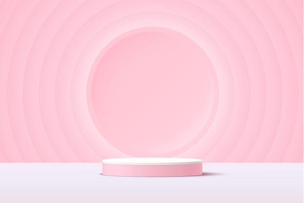 Abstraktes weißes und rosafarbenes 3d-zylinderpodest mit leuchtendem hellrosa kreishintergrund